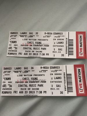 2 Lawn tickets to Chris Young for Sale in Raleigh, NC