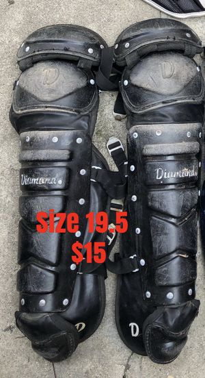Baseball catcher leg guards catcher gear ready to use equipment bats gloves for Sale in Culver City, CA