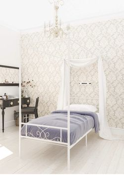 Brand New Twin Size Metal Canopy Bed Frame White for Sale in Ontario,  CA
