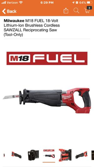 Milwaukee M18 FUEL 18-Volt Lithium-Ion Brushless Cordless SAWZALL Reciprocating Saw (Tool-Only) for Sale in Highland, CA