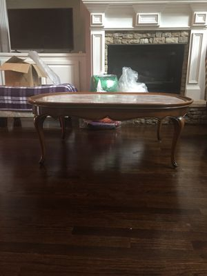 Antique Solid Wood Frame Marble Top Oval Cocktail Table for Sale in Atlanta, GA