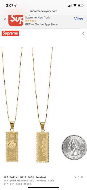 """Supreme 14kt gold 100 Dollar Bill pendant with 24"""" gold chain for Sale in Cambridge, MA"""