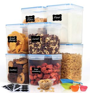 NEW 8 Piece (5.2L and 2.5L) Airtight Plastic Food Containers for Bulk Food, Flour, Sugar and Baking Supplies, BPA Free kitchen Storage Containers for for Sale in San Dimas, CA