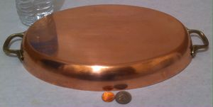 """Vintage Metal Copper and Brass Oval Pan, Fish Pan, Heavy Duty, 14"""" Handle to Handle, 11 1/2"""" x 8"""" Wide, Kitchen Decor, Hanging Decor, Shelf Display for Sale in Lakeside, CA"""