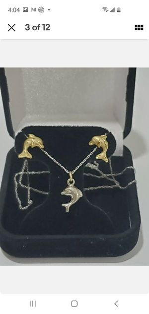 Solid 10k Gold Earrings & Necklace Set for Sale in Hallandale Beach, FL