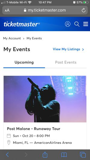 Post Malone. FLOOR SEATS. Oct 20th. AA arena for Sale in Hollywood, FL