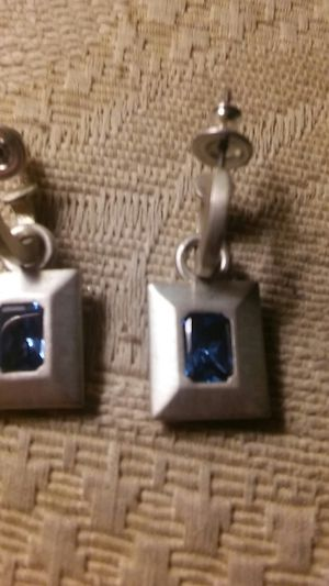 Nice Silver & Blue Topaz Earrings for Sale in Aloha, OR