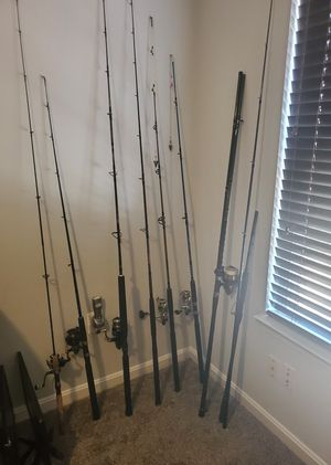 Selling various fishing poles, would like to sell all in one package. Rods include reels and range from ponds to surf rods. Thanks! for Sale in Stafford, VA