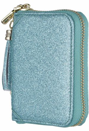 Brand New Glitter Teal Women's Credit Card Holder Wallet RFID Leather Small ID Card Case,Material: Genuine leather, Zip Closure 1 Zipper Pockets, 11 for Sale in Arnold, MO