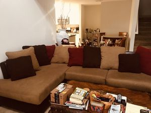 Cognac leather and microfiber sectional couch with pillows for Sale in Freehold, NJ