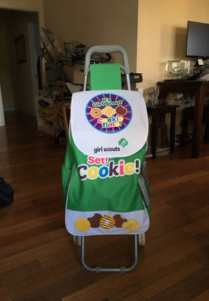 Girl Scouts cookie cart, badges, cookie tablecloth, vest, pins... for Sale in Los Angeles, CA