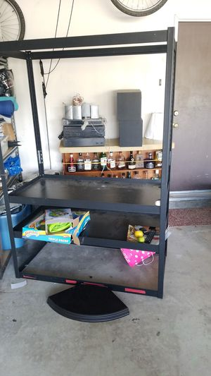 Metal shelving with 3 wooden shelves for Sale in Chula Vista, CA