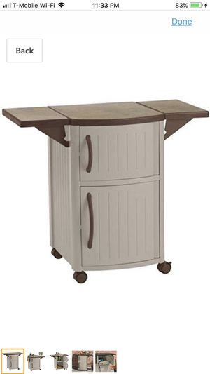 Suncast Outdoor Grilling Prep Station - Portable Outdoor BBQ Entertainment Storage Table Prep Station - Store Grilling Accessories, Condiments - Taup for Sale in Wesley Chapel, FL