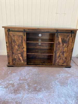 TV Stand with Sliding Barn Doors for 60-Inch TVs, Rustic TV Cabinet with Storage, Entertainment Center Console, Adjustable Shelves and Feet, for Livi for Sale in Chino, CA
