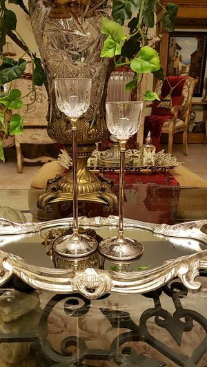 Beautiful vintage Italian uneven crystal and silverplate candle holders for Sale in Boynton Beach, FL
