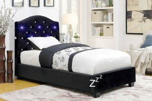 TWIN SIZE PLATFORM BED FRAME WITH LED LIGHTS IN HEADBOARD for Sale in Tracy, CA