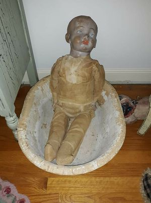 Very large antique doll in antique basin for Sale in North Chesterfield, VA
