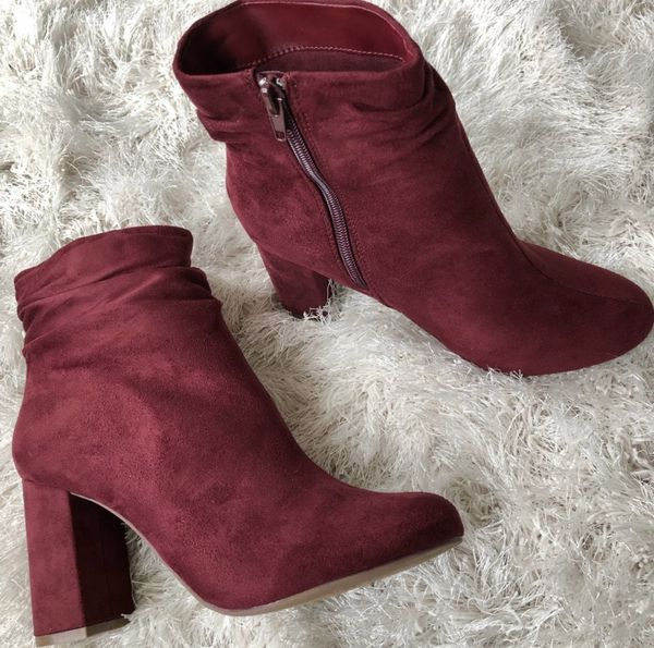 Wine burgundy suede chunky heel ankle boots booties Size 7.5