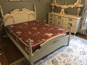 Queen Bedroom Set (Bedframe, Dresser, Chest, Mattress, and Boxspring) for Sale in Stockton, CA