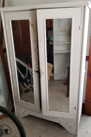 White mirrored Armoire and bookshelf for Sale in Cleveland, OH