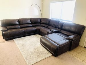 Like new leather sectional dual recliner couch $1150 Firm for Sale in Bakersfield, CA