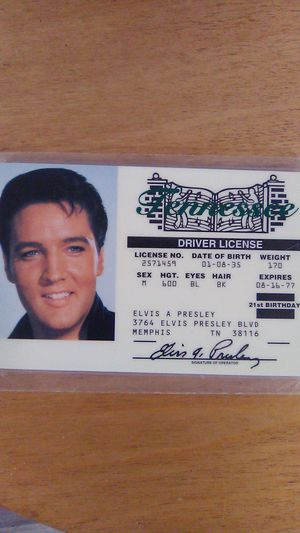 Collectible Elvis License vintage piece for Sale in Greensburg, PA