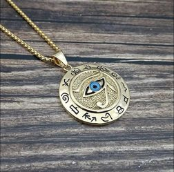 "Gold Plated Eye of Horus Egyptian Necklace on 24"" Chain for Sale in Robertsdale,  AL"
