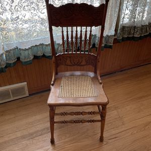 Three antique oak intact cane seat chairs for Sale in Chicago, IL