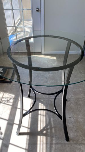 Round Glass dining/ breakfast table with black brown frame for Sale in Lake Saint Louis, MO