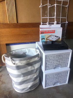 College dorm room stackable drawer/bins, laundry basket, shoe/storage, bed side shelf for Sale in Manteca, CA