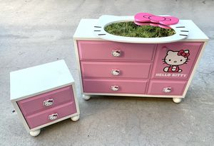 Authentic Sanrio Hello Kitty solid wood dresser set with night stand and mirror for Sale in Arcadia, CA