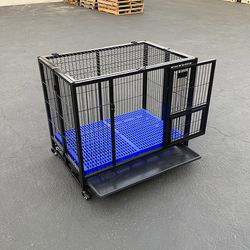 "$130 (new) olding Dog Cage 37x25x33"" Heavy Duty Single-Door Kennel w/ Plastic Tray for Sale in El Monte,  CA"