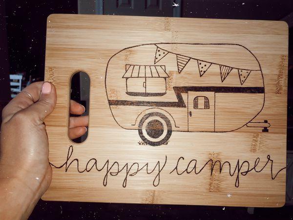 Happy Camper Cuttingboard