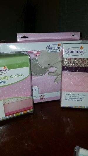 New girl summer crib skirt, crib rail protector, and window valace for Sale in Compton, CA