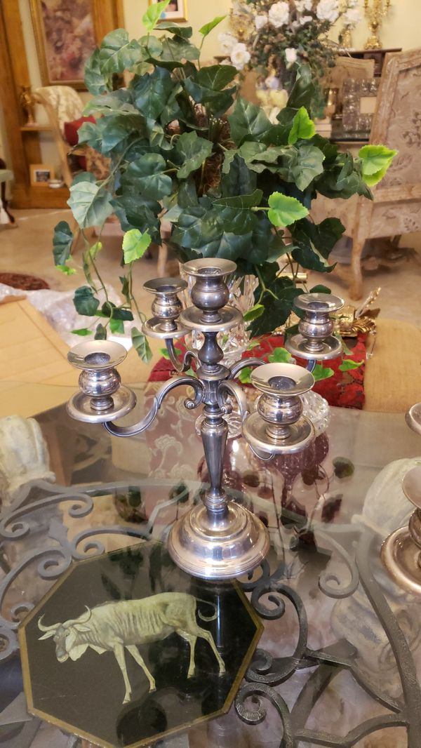 Beautiful pair of vintage 5 arm silverplate candelabras