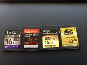 4 SD cards - 96gb total storage for Sale in Fairfax, VA