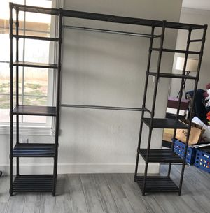 Metal shelf/wardrobe. Two bars, 5 shelves on both sides. Like new. Easy assembly/disassembly. $50 for Sale in Phoenix, AZ