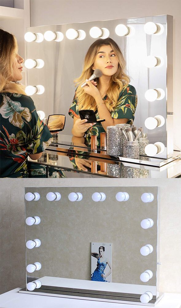 """New $325 Vanity Mirror w/ 14 Dimmable LED Light Bulbs, Hollywood Beauty Makeup Power Outlet 32x26"""""""