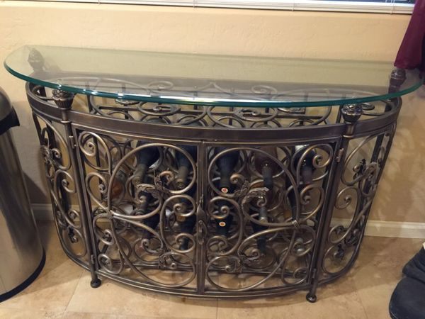 Wrought Iron Wine Bottle Buffet Table For Sale In Mesa Az