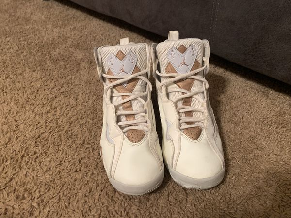 Off white and bronze Jordan True flights