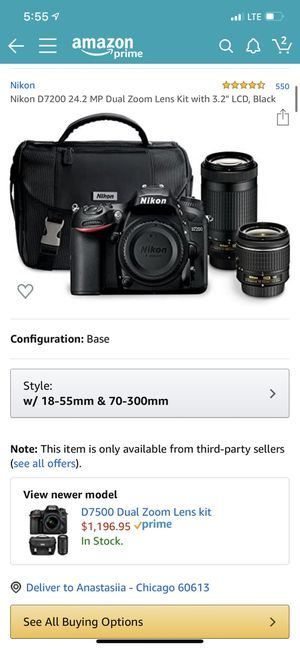 NIKON D7200 w 15-55mm AND 70-300mm lenses for Sale in Chicago, IL
