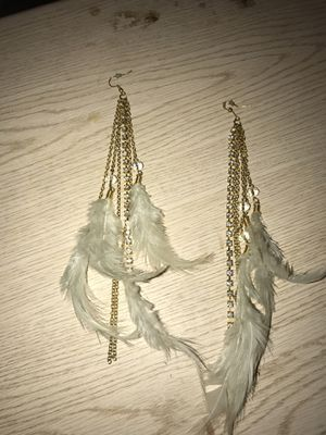 Very shiny gold color Diamond feather earrings for Sale in Baltimore, MD