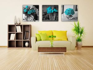 Teal Blue Rose Flowers Wall Art Rural Blue Turquoise Canvas Prints 3 Pieces Home Decor for Sale in Marquette, MI