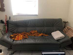 Futon sofa leather imitation for $100 for Sale in Miami, FL