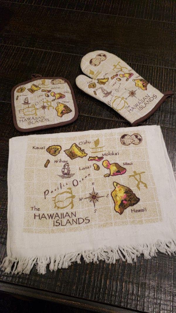 HAWAII OVEN MITT & KITCHEN TOWEL SET