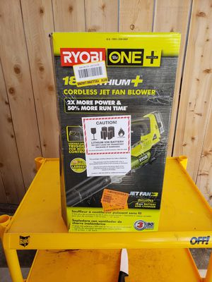 RYOBI ONE+ 100 MPH 280 CFM Variable-Speed 18-Volt Lithium-Ion Cordless Jet Fan Leaf Blower 4Ah Battery for Sale in San Diego, CA