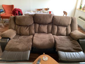 Reclining Sofa. Feel of Suede fabric with outside parts covered with faux leather. for Sale for sale  Jersey City, NJ