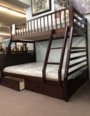 Twin Full Wood Bunk bed with Drawers for Sale in Yuba City, CA