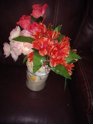 Artificial flowers in glass vase for Sale in Breinigsville, PA