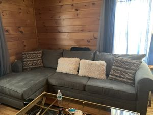 Grey suede sectional couch for Sale in Salem, MA